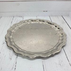 Поднос круглый с фигурным вырезом никелированный 55215